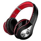Mpow Bluetooth Kopfhörer Over Ear, [Bis zu 20 Std] Kabellose Kopfhörer mit Hi-Fi Stereo mit Dual 40mm Treiber, CVC 6.0 Noise Canceling für Integriertem Mikrofon Freisprechen (Schwarz & Rot)