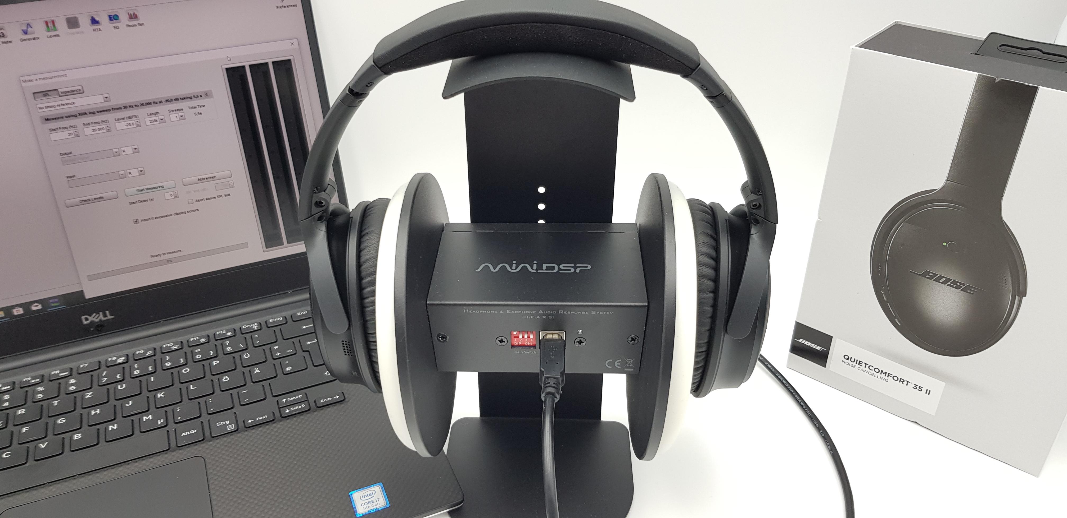 Klang bzw. Frequenzgangmessung mit den Bose QuietComfort 35 II und den EARS von miniDSP